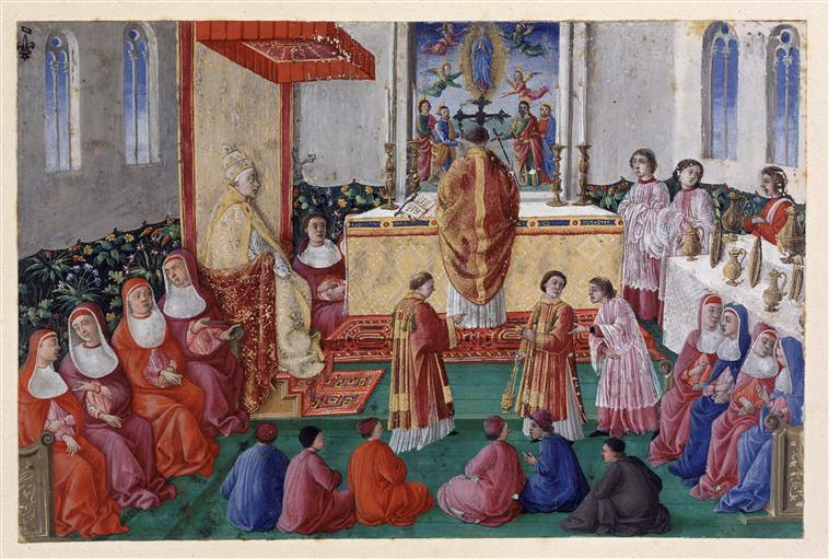 Pope Sixtus IV in the Sistine Chapel. Italian School Ponitifical Mass