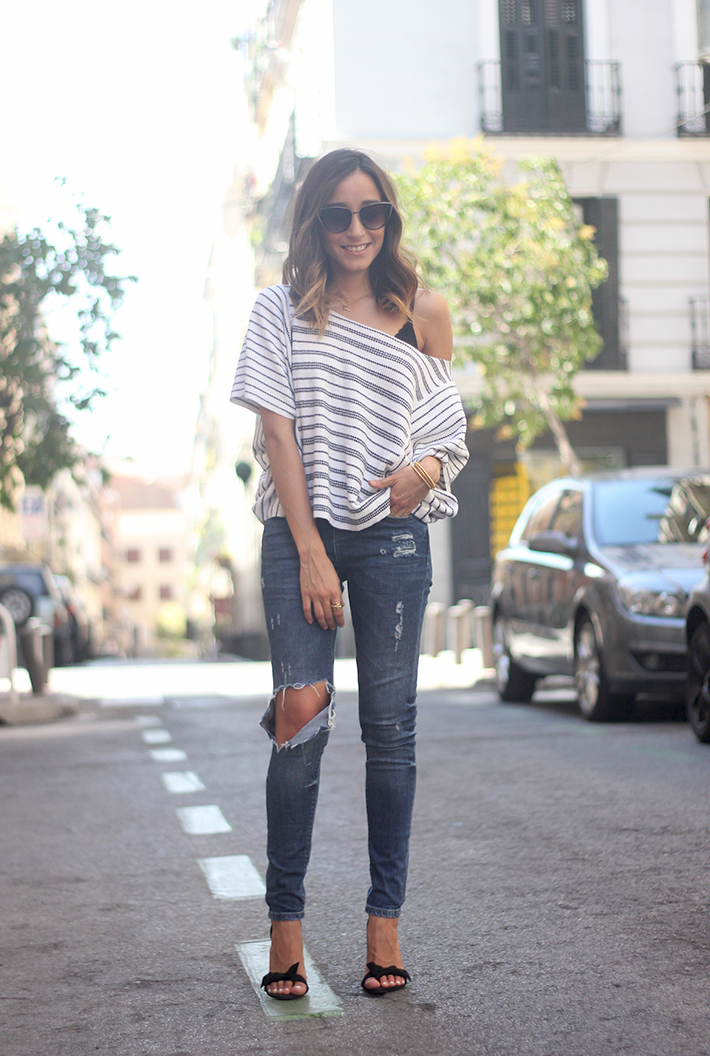 Casual Friday Jeans stripes top summer outfit08