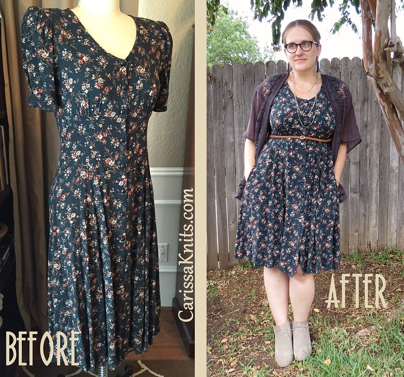 Teal Floral Dress - Before & After