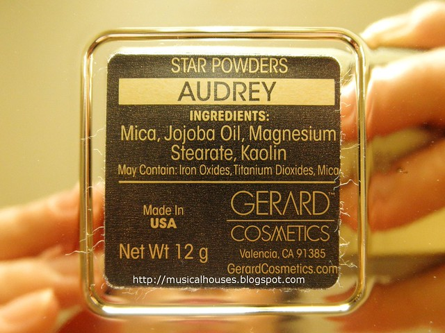 Gerard Cosmetics Star Powder Audrey Ingredients