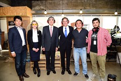Deputy Secretary of State Antony 'Tony' Blinken and Ambassador Sung Kim, Special Representative for North Korea Policy, pose for a photo  Lab Seoul in South Korea by Fellow Edward Martin on October 7, 2015. Founded by Ko San, Fab Lab Seoul is a public open space where tools for digital fabrication, such as 3D printers and laser cutters, are available for startups and makers. [State Department photo/ Public Domain]