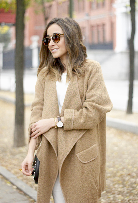 Camel Coat sheinside white outfit heels uterqüe purse outfit15