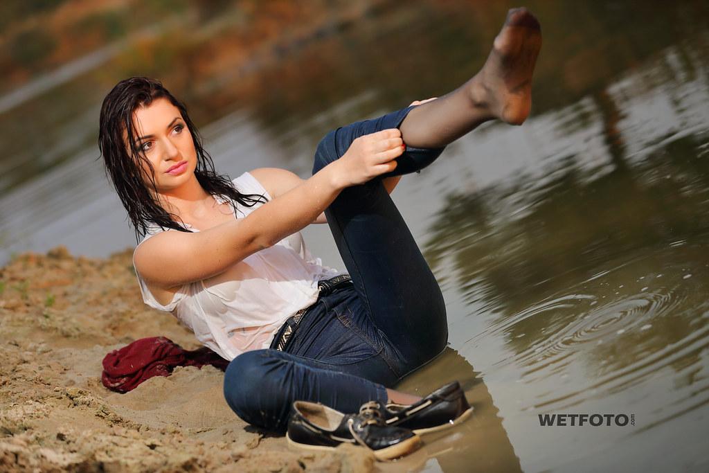 Woman Swimming In Pantyhose