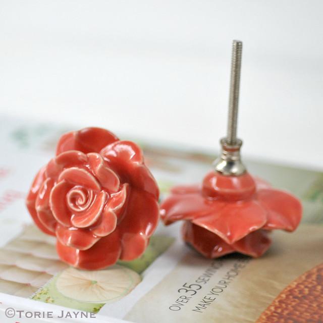 Coral Rose Door Knobs