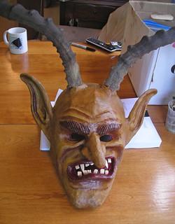 painted Krampus mask