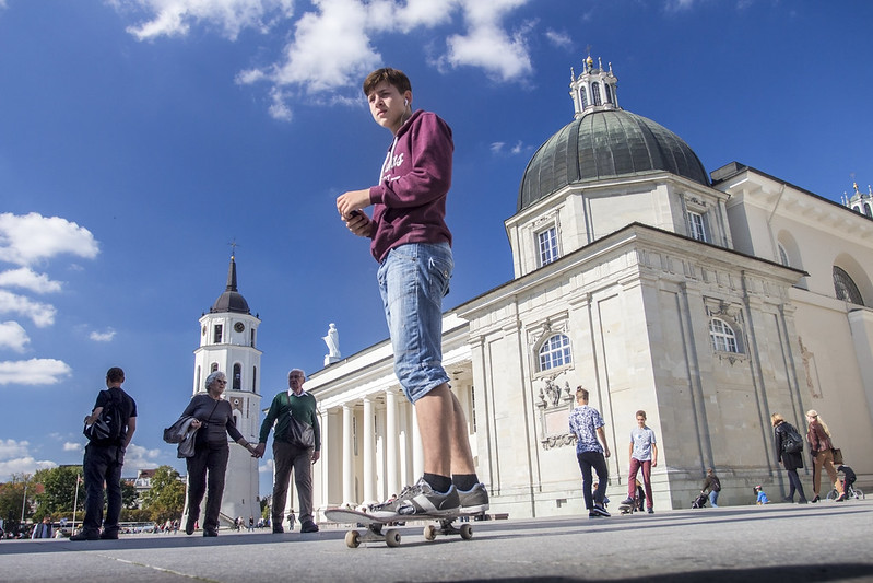 Young skater on Cathedral Square in Vilnius