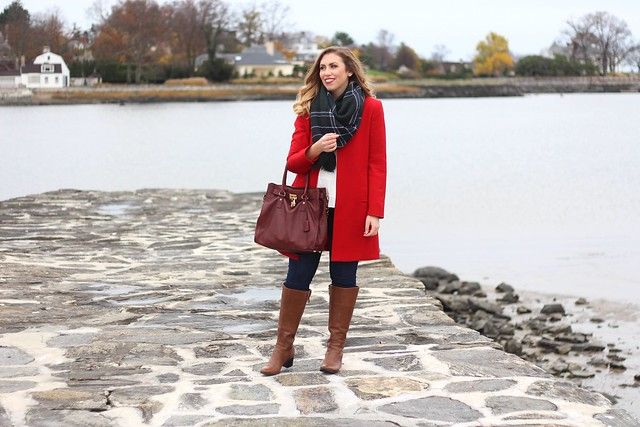 Red Coat | Plaid Blanket Scarf | Wide Calf Boots | Casual Holiday Outfit