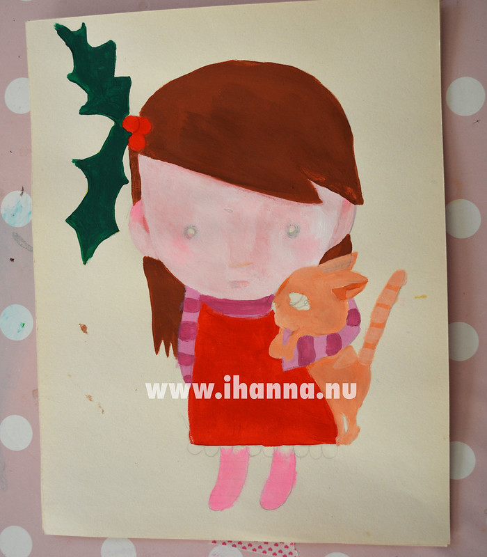 Christmas painting WIP: Santa Crazy Girl