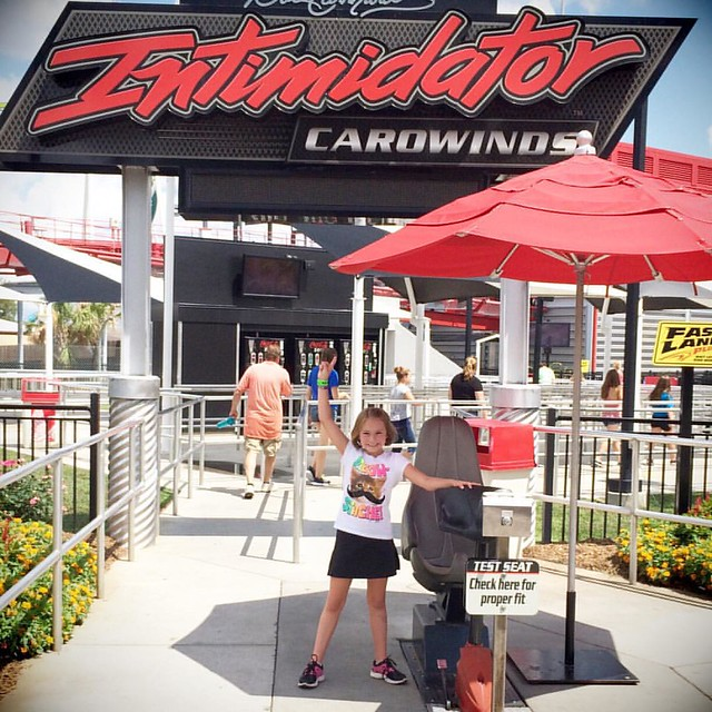 First time on #intimidator #happygirl #carowinds #rollercoaster #finallytallenough