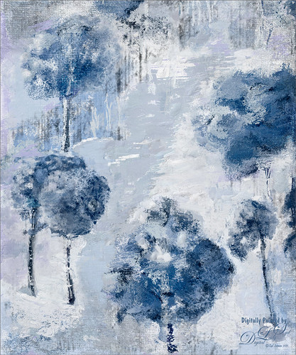 Painted image of a wintry scene using Corel Painter and Photoshop