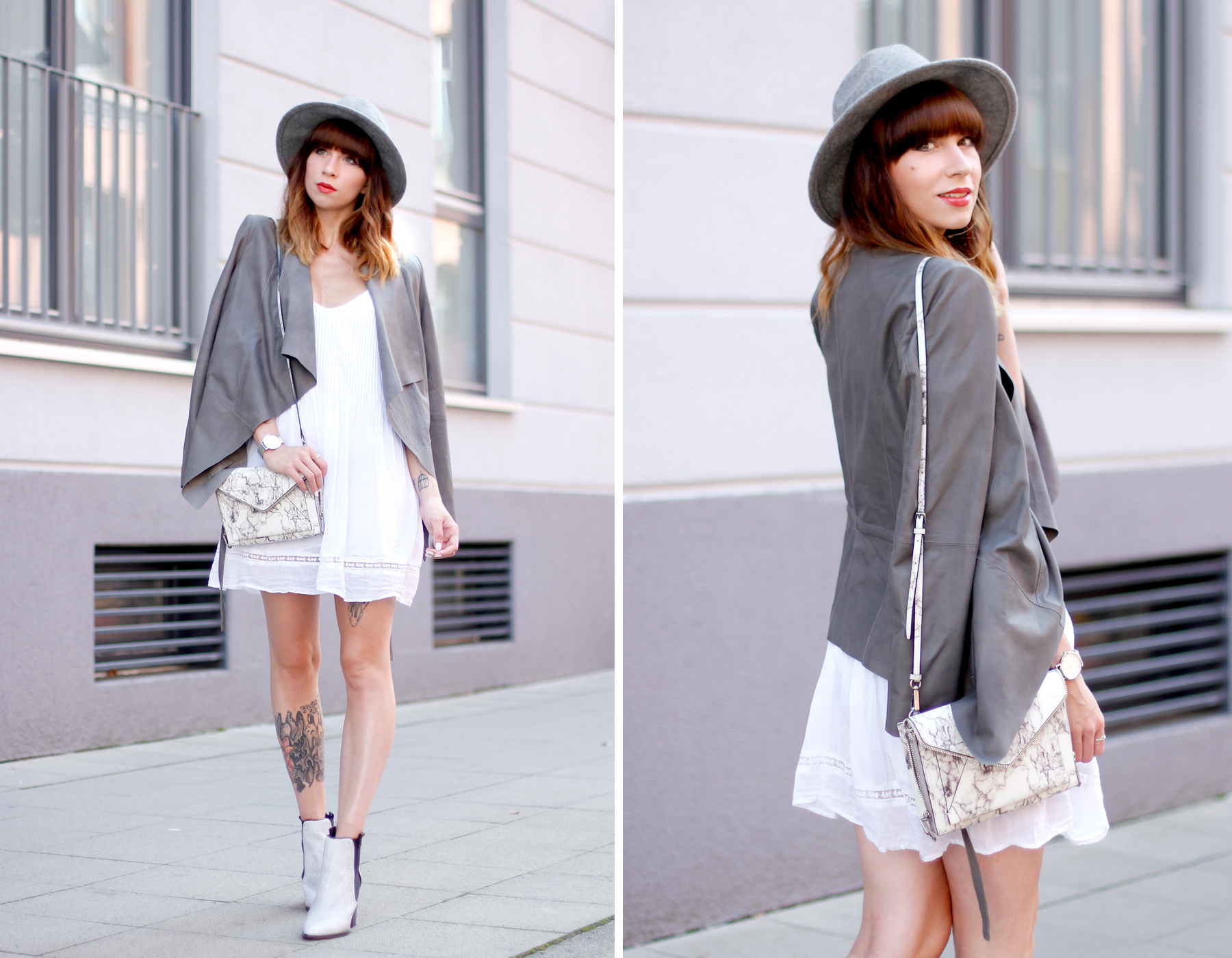 outfit grey hat drykorn leather jacket autumn look minimal chic cute redhead brunette boots fashion blog düsseldorf hannover berlin ricarda schernus cats & dogs 1
