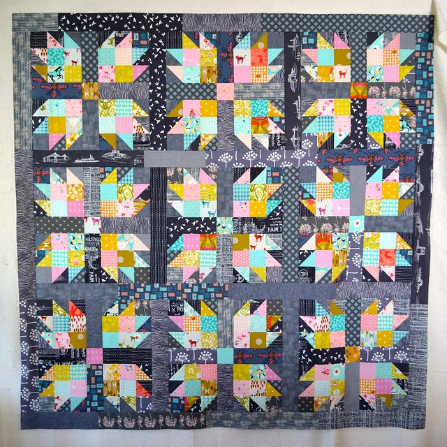 Squid Ink and Sorbet Quilt top