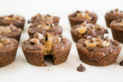 gooey peanut butter-filled brownies