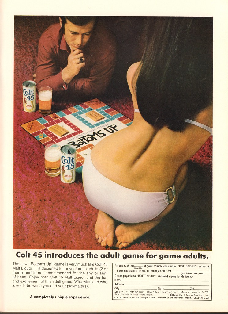 1970 Colt 45 Bottoms Up game Advertisement Playboy October 1970