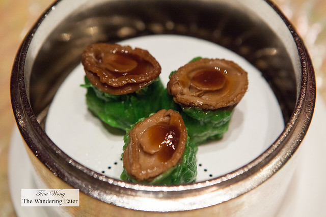 Shu mai topped with braised abalone