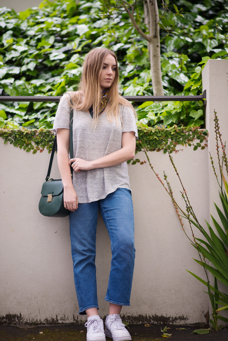 StolenInspiration.com | Kendra Alexandra | New Zealand Fashion Blog | Zara Bag, Weekday Kick Flares, Glassons Linen Top and Nike Air Force Ones