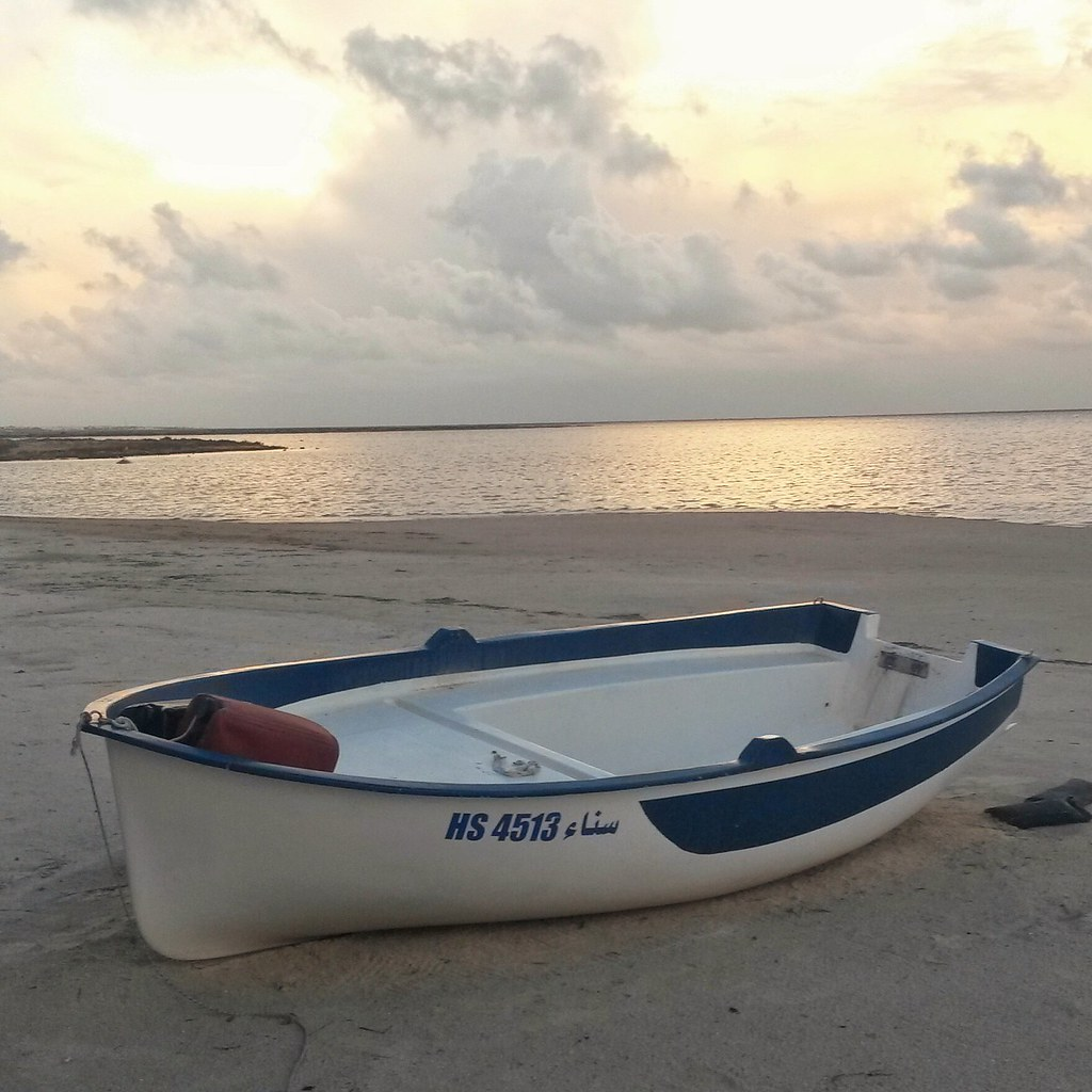 Boat at sunset at Djerba, Tunisia
