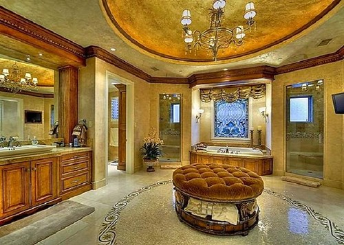 Luxury Meditteranian Candice Olson Bathrooms With Hanging Lamps And Vanities