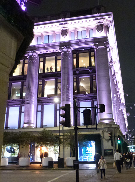 Selfridges by night