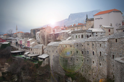 old city travel blue light sunset sky people sun heritage history beautiful skyline sunrise war europe no mostar bosnia creative fantasy herzegovina flare mystical eastern whimsical bosnian