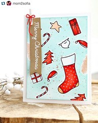 http://bit.ly/1IWrGzh Elena is on the blog today sharing a Red + Aqua combo card for Christmas! #StockingStampSet #WaffleFlower #WaffleFlowerCrafts