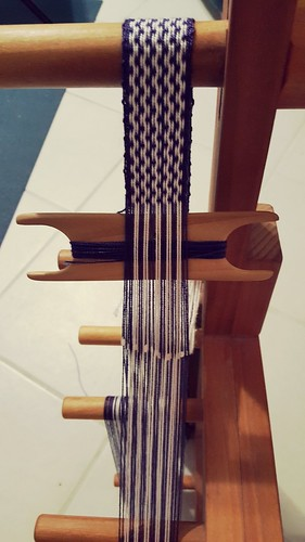 Purple and white on the loom