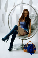 Blue over knee boots and heels