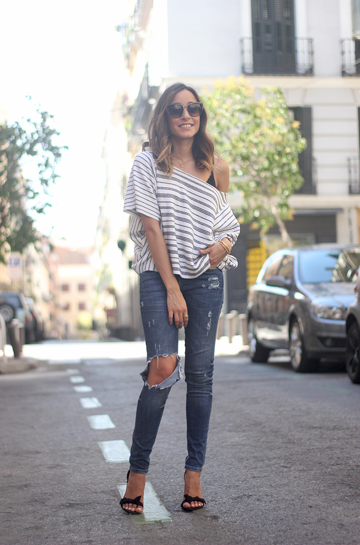 Casual Friday Jeans stripes top summer outfit07