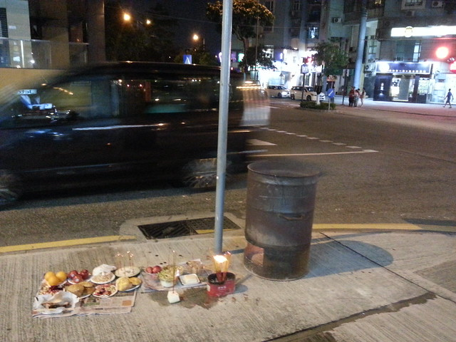 Incent, food offerings and a barrel to burn fake money. It is Chinese Ghost Festival!