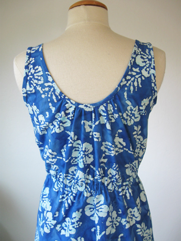 blue batik back neckline