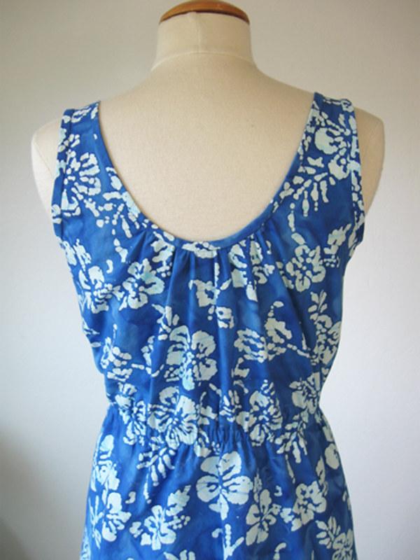 blue batik back neckline