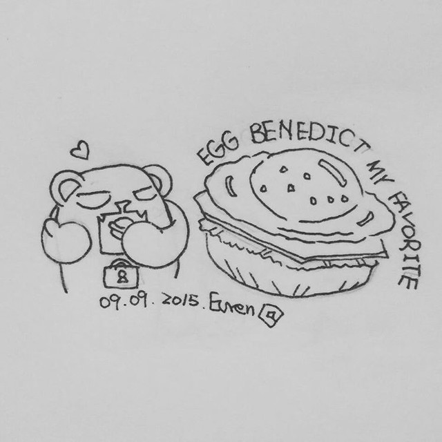 #eggbendict is really good. It's including two of my favorite food: egg and bread. Anyway, during #mishubear stayed in #Bangkok, egg Benedict is always on the dish. #左手畫畫 #drawing #sketch #breakfast #密室熊