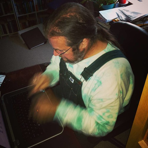 Day 21: Hard at work! Dance on that keyboard, you stupid fingers! #amwriting #amwritingchallenge #overalls