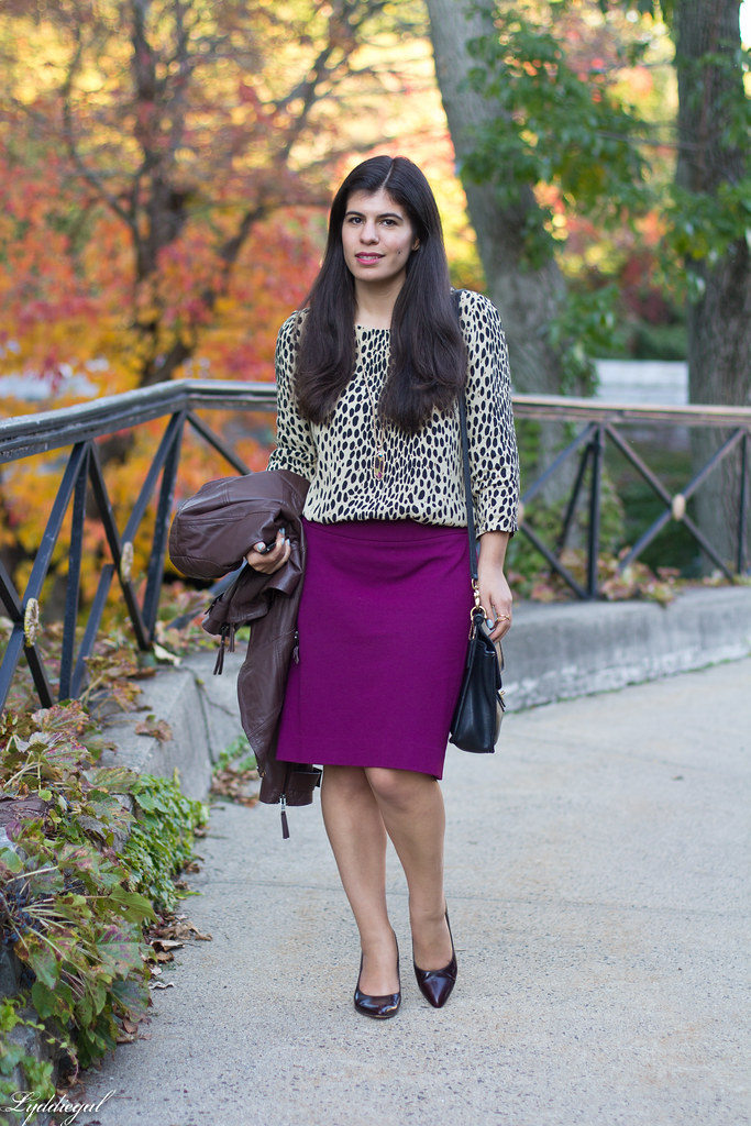 purple pencil skirt, leopard blouse, leather jacket.jpg