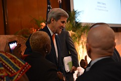 U.S. Secretary of State John Kerry greets attendees after delivering remarks at the 2015 Global Diaspora Week Launch Event in the Loy Henderson Room at the U.S. Department of State in Washington, D.C. on October 9, 2015. [State Department Photo/Public Domain]