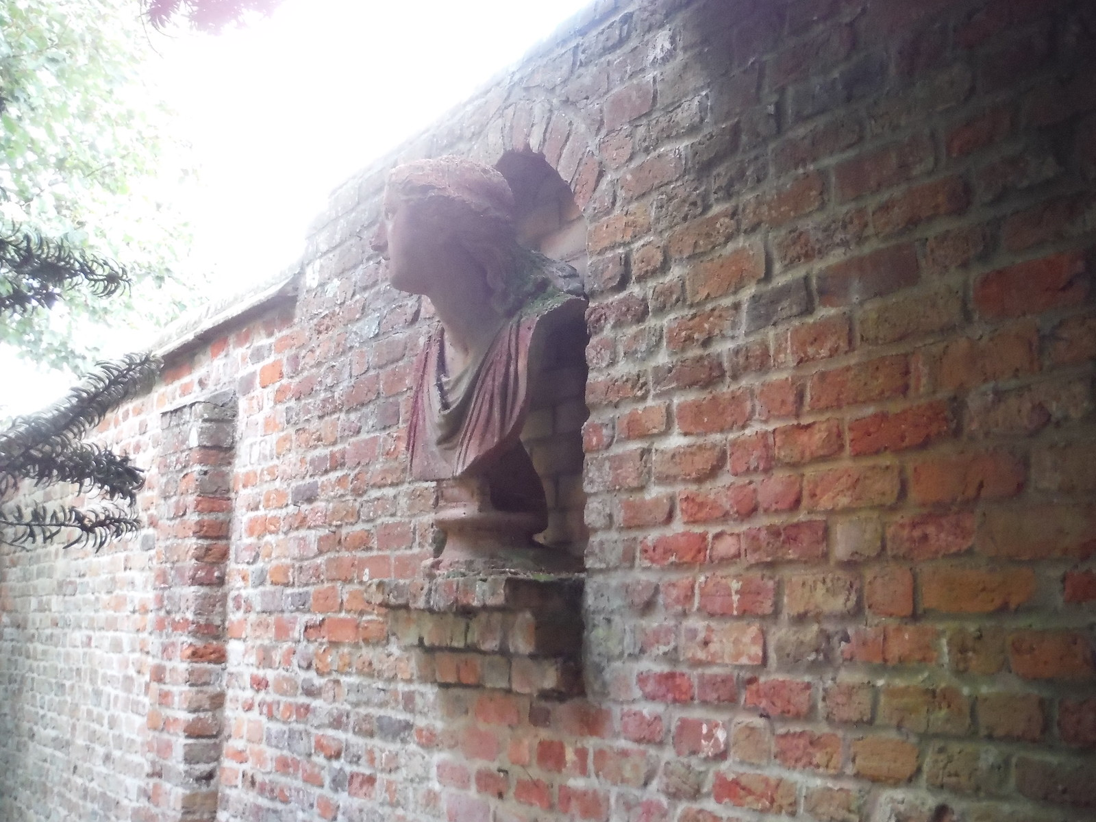 Another Bust on Wall along Path by Walled Garden, Lilies, Weedon SWC Walk 194 Aylesbury Vale Parkway to Aylesbury
