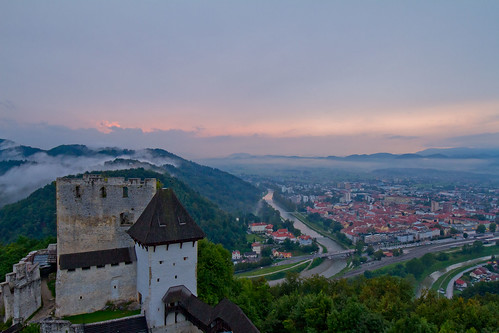 slovenia celje celjecastle castle sunset fog clouds