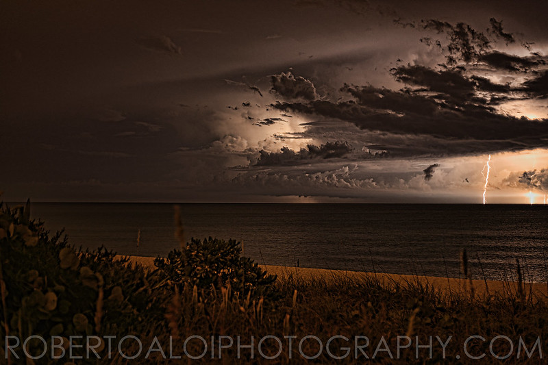 Lake Worth Beach - 8-13-15 - Lightning between Florida and Freeport Bahamas