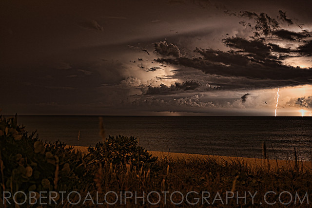 Lake Worth Beach - 8-13-15 - Lightning between Florida and Freeport Bahamas