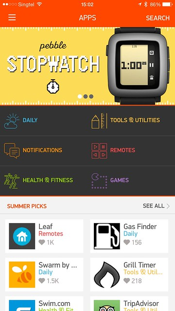 Pebble Time iOS App - Apps