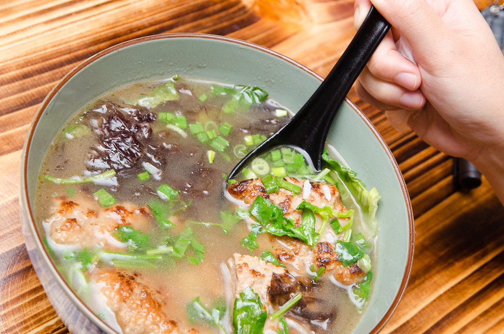 Soupy Rice with Pork Patty