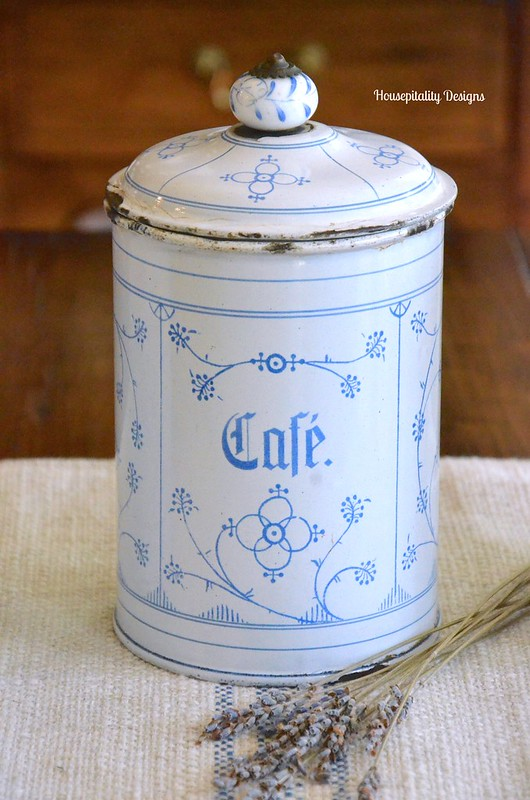 Antique French Enamelware Coffee Canister - Housepitality Designs