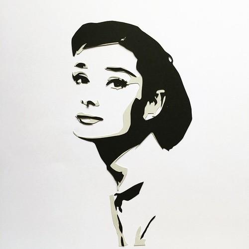 Audrey Hepburn Papercut by Hannah Miles