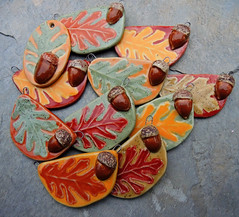 Oak Leaf and Acorn Pendants