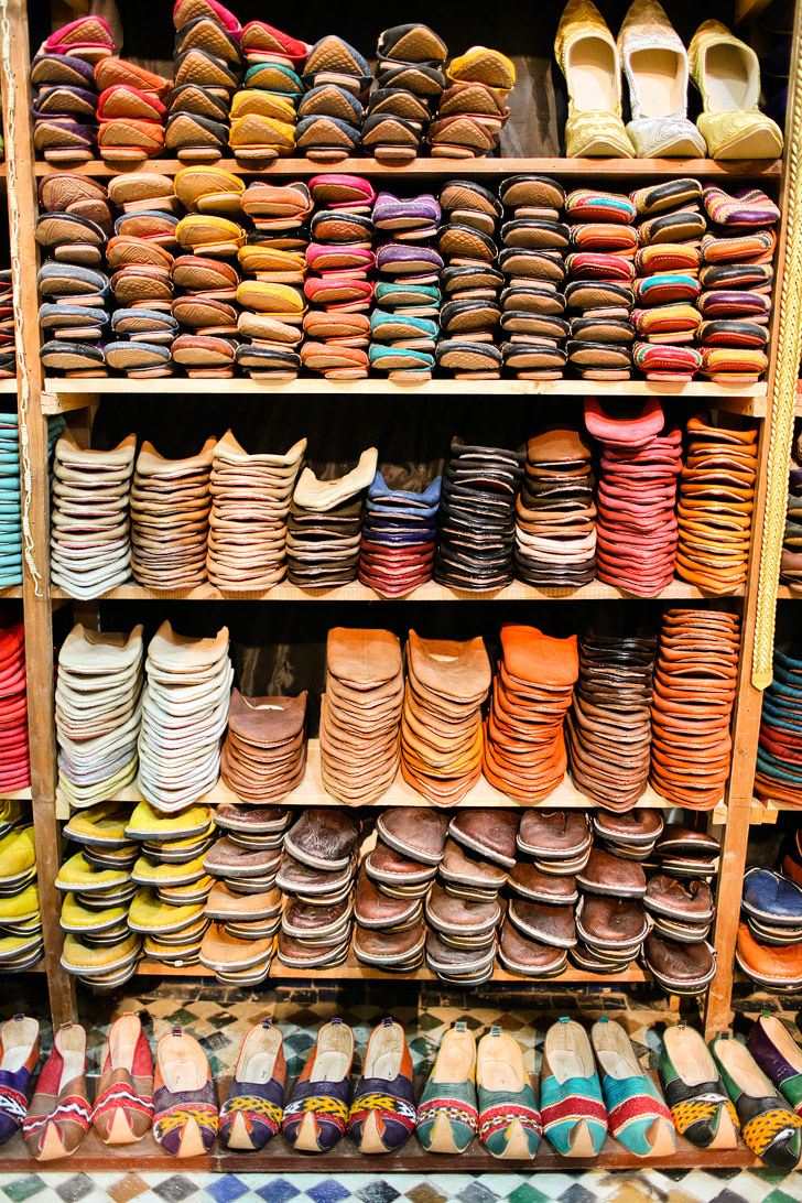 Buying Morocco Leather and Taking in the Colorful Sights and Strange Smells of the Chouara Tannery in Fes Morocco.