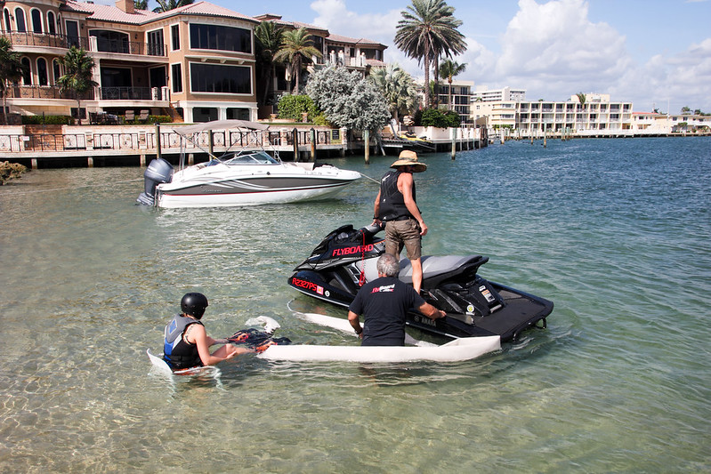 Getting ready to flyboard with a water jet