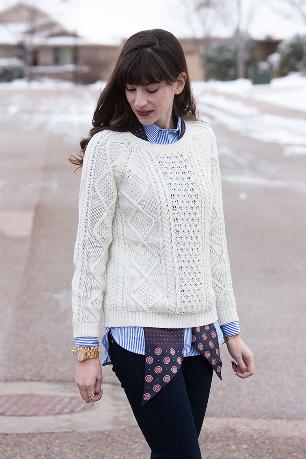 Winter Layers, Cable Knit Sweater, J.Crew Striped Shirt, Jord Wood Watch