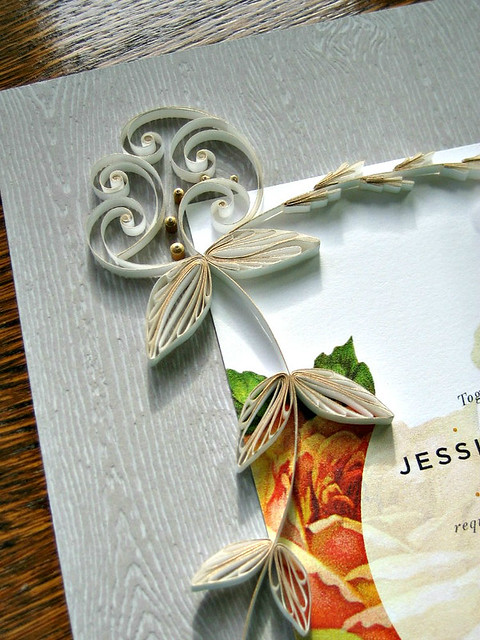 Quilled Wedding Invitation - Upper Detail