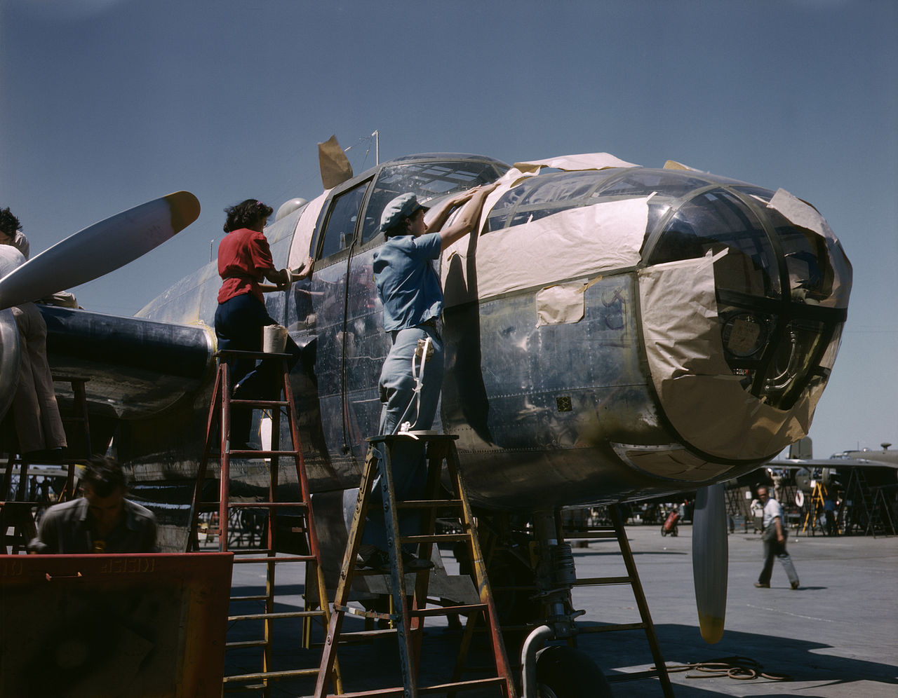 North American B-25 bomber is prepared for painting on the outside assembly line, North American Aviation, Inc., Inglewood, Calif
