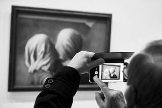 Image of Centre Georges Pompidou near Paris 04. blackandwhite centregeorgespompidou depthoffield galleryart interior magritterenéworks mobilephone museum outoffocus painting paris visitor france fra